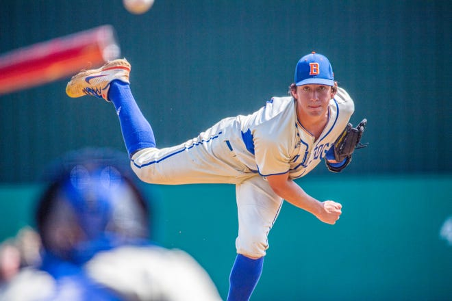 Bolles starter Jackson Baumeister delivers a pitch against Orlando First Academy during the FHSAA Class 3A baseball state semifinal in Fort Myers on May 24.