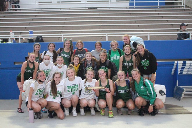 The Geneseo High School Girls' Track Team won the Western Big 6 Conference Meet hosted by Quincy High School. Team members are, in front from left, Ali Rapps, Hannah Rakestraw, Evie Wilson, Avery Magerkurth, Esther Brown, Addison Pischke, Taylor Kruger; in the middle, Lacy Laxton, Joselyn Reisner, Savannah Reisner, Anna Snyder, Jessalyn Belvel, Alexa Jolly, Ella Toom, Sierra Kruger; in the back row, Jaide Flowers, Phoebe Shoemaker, Annie Wirth, Drayana DeBoef, Brooke Boone, Annie Turpin and Alison Bowers