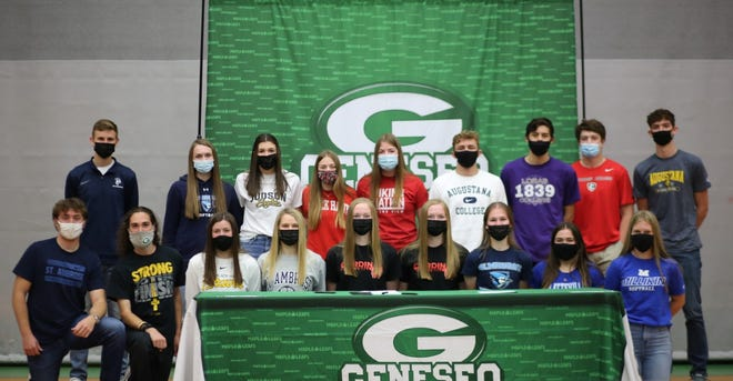 The Geneseo High School athletes who are taking their talents to the college level of sports include, in front from left, Sebastian Einfeldt, William Plumley, Mikala Warner, Taylor DeSplinter, Abigail Barickman, Madeline Barickman, Esther Brown, Miranda Roemer, Natalie Baumgardner; and in back, Ethan Holke, Hannah Dunk, Brenna McGuire, Brooke Harms, Robyn Nelms, Tanner Burgett, Kyle Traphagan, PJ Moser and Clay DeBaillie.