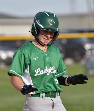 Natalie Baumgardner hit a home run in the recent softball game against Sterling which ended in a 12-3 victory for the Lady Leafs.