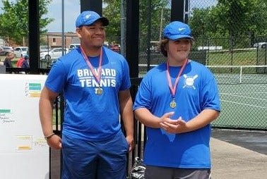 Brevard's Blake Sharpe, left, and Bradley Rising pose after a recent tournament this season.
