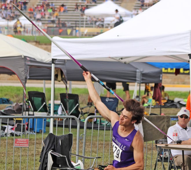 Capping his high school years in sterling style, new Meadville alumnus Conner Fletcher releases the javelin on his third attempt in the event at the Missouri Class 1 boys' track-and-field championships at Jefferson City Saturday, May 22. This throw sailed 173', earning Fletcher the state title in the event by less than a foot.
