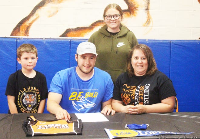 La Junta High School's Mitchell Peabody (front row center) has committed to wrestle at the University of Nebraska-Kearney. Also pictured are Peabody's sister, Kaylee (back row), his brother Tanis Aragon (front row left), and his mother, Wendy (front row right).