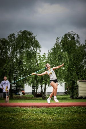 Shown is Basehor-Linwood sophomore Brenna Lynn competing in the javelin event at the 5A regional meet at Pittsburg High School.