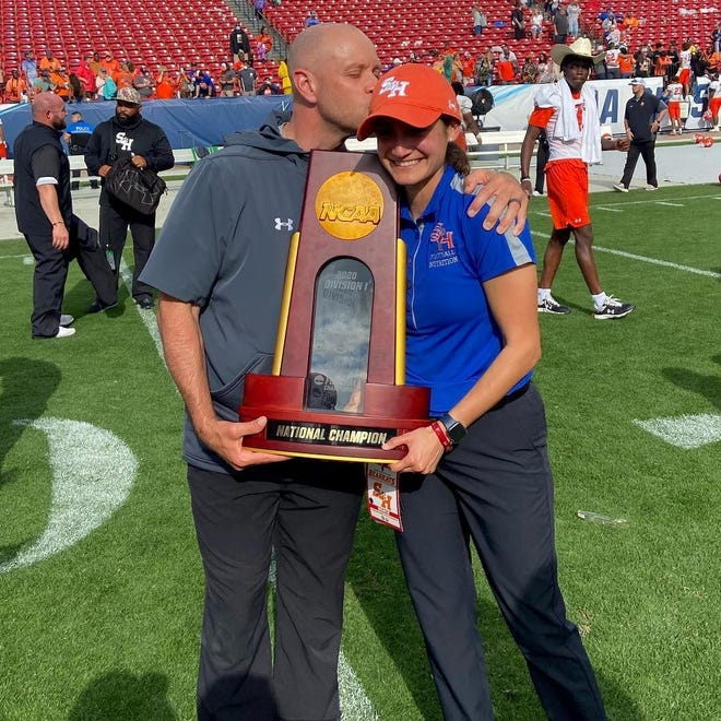 Keyser native Parker Whiteman and his wife Susana celebrate Sam Houston State University's winning the FCS football national championship. Parker serves as the Bearkats' head strength and conditioning coach, and Susana as the team's nutritionist.