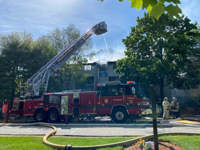Firefighters battle a blaze at 10 Franklin Crossing in Franklin.