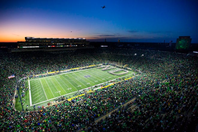 Notre Dame Stadium will have a new public address announcer this fall. Mike Collins, who held the job for 39 years, retired following the 2020 football season.