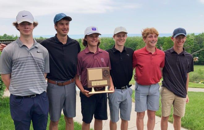 The Charlevoix boys' golf team of (from left) Henry Herzog, Jack Gaffney, Jake Beaudoin, Sam Pletcher, Hudson Vollmer and Scott Bush claimed a league title on Saturday at Antrim Dells.