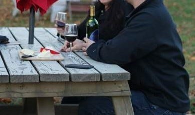 Patrons enjoy Tolino Vineyards in Bangor.