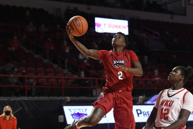 Florida Atlantic's Iggy Allen goes up for a layup during a game this past season against Western Kentucky. Allen transferred to Old Dominion this offseason after starring at FAU for one season.
