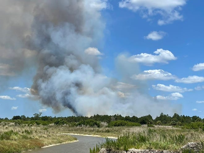 Crews are fighting a 160-acre brush fire near Northlake Boulevard, west of the Beeline Highway
