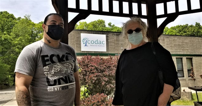 Recovering addict Anthony Perito with CODAC head Linda Hurley.