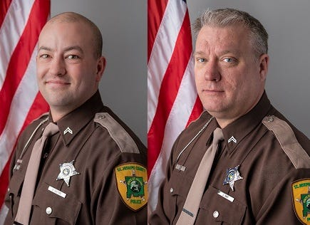 From left: St. Joseph County Police Cpl. Brad Bauters and Cpl. James Hart