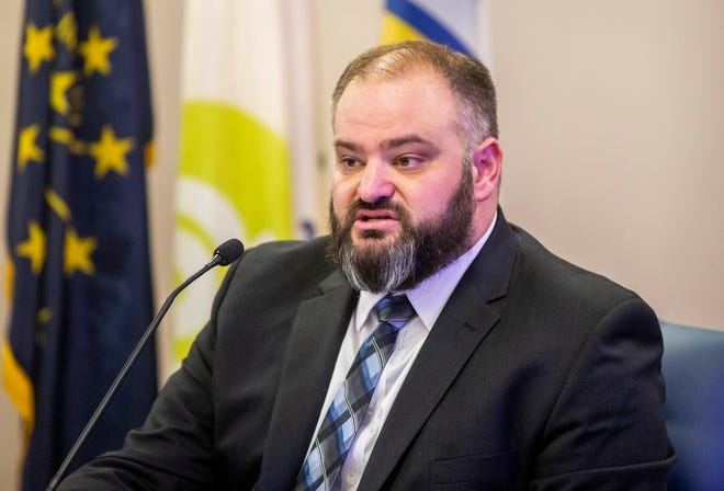 Joshua Reynolds, director of the Community Police Review office in South Bend, speaks during a news conference on in May at the County-City Building.