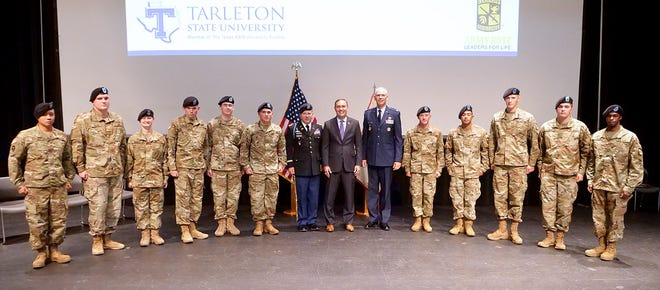 Eleven Tarleton State University ROTC Texan Battalion cadets were commissioned second lieutenants in the U.S. Army in a May 13 ceremony on the Stephenville campus.
