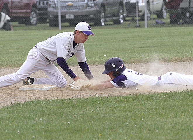 Three Rivers' Addison Abnet steals second base against Bronson in the Polish Classic on Saturday.