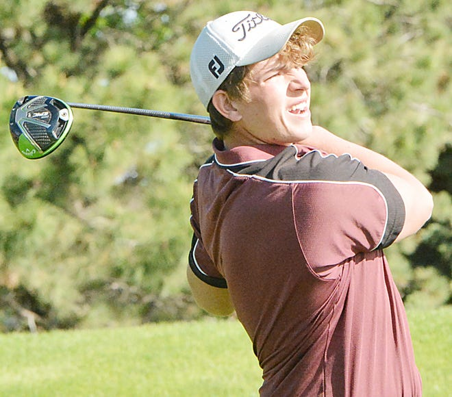 Aberdeen Christian's Jett Becker tees off on No. 1 Red Monday during the Region 1B high school boys and girls golf tournament at Cattail Crossing Golf Course in Watertown.
