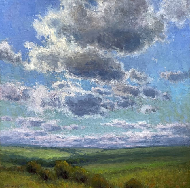 """""""Drifting clouds"""", a painting by Kim Casebeer, will be one of the items up for auction as part of the Mulvane Art auction."""