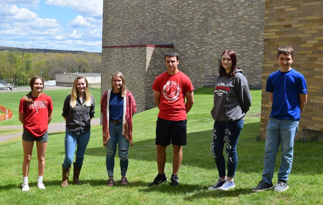 Rockwood Area High School students of the month for April are from left: eighth grade, Adeline Barkman; 12th grade, Danielle Johnson: 11th grade, Madison Putman; 10th grade, Jonathan Felesky; ninth grade, Ana Hinzy; and seventh grade, Glenn Millen.