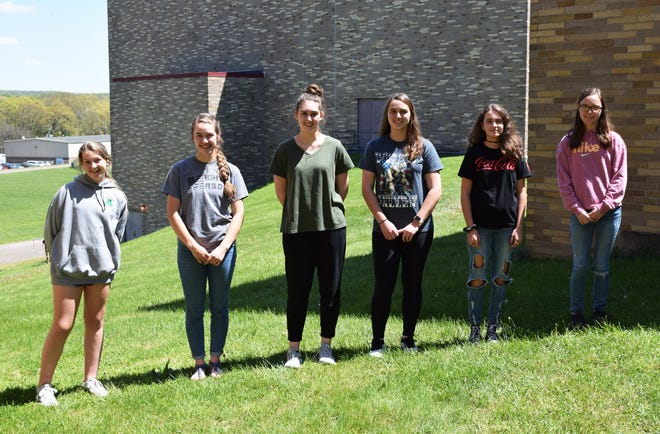 Rockwood Area High School students of the month for May are from left: seventh grade, Avri Wareham; 11th grade, Kaitlyn King; 12th grade, Leah Hunt; 10th grade, Alyssa Hunt; eighth grade, Tyler Stahl; and ninth grade, Makayla Peck.