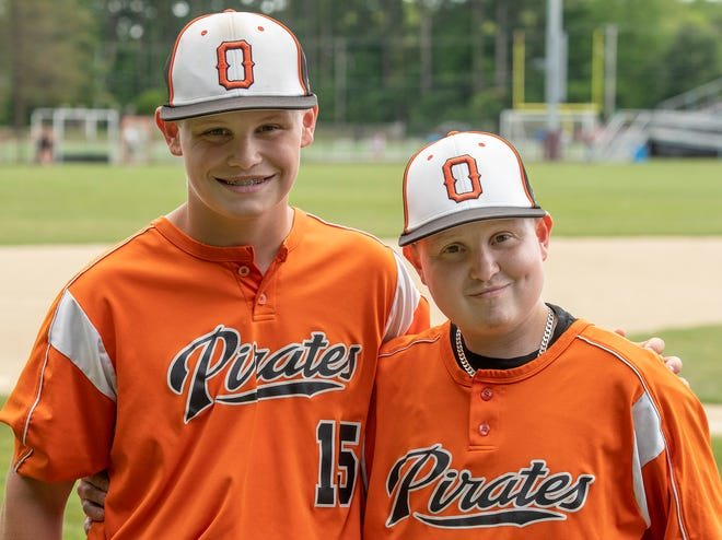 Brothers Brayden Mercier, left, and Nick Mercier are enjoying a special season together on the Oxford High baseball team.