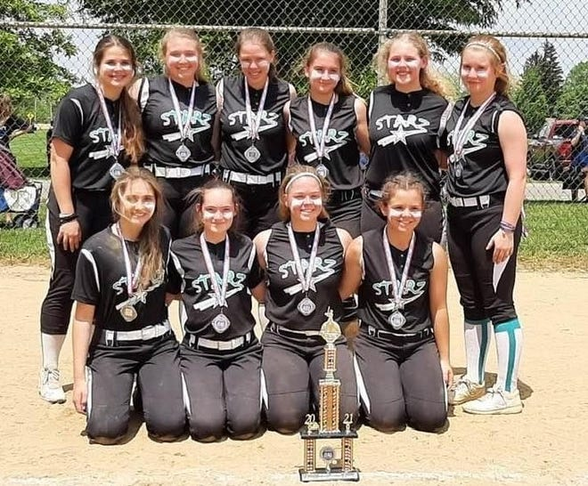 Over the past weekend the Starz 14U team out of Dover were runners up in the Veterans Memorial Eastern National Qualifier in Ashland, Ohio. This was the team's first campaign of the 2021 season. The team is led by Head Coach Mike Risher, Coach Jimmy Marraccini, Coach Brian Kohler, and Coach Brian Bullock. FRONT Sara Klar, Kyleigh Jones, Lainey Kohler, Lexi Dixon. BACK Charlie Reese, Pressly Meadows, Riley Bullock, Gabi Marraccini, Kinsie Risher, Natalie Dobbins. Madeline Fockler was absent from the photo.