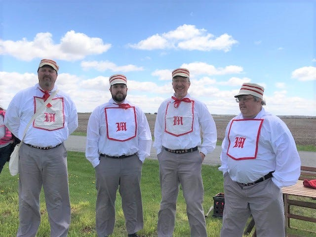 The Columbus Muffins ball team is returning to Crawford County on June 6, sponsored by Harvey One Room School at the request of the Bucyrus Bicentennial Committee. Playing with rules from the 1880s, the Muffins go up against a team recruited from county residents.