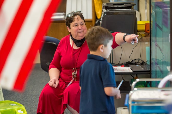 Kindergarten teacher Norma Lebleu. Basile High School and W. W. Stewart Elementary are part of the Superintendent's Pilot program to provide classrooms with a Promethean Titanium ActivPanel. ActivPanels provide an interactive display that provides intuitive and integrated learning experiences for students. Monday, May 24, 2021.
