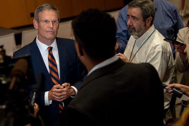 Tennessee Governor Bill Lee answers questions with members of the media after he signed his latest raft of reform bills at the Tennessee State Museum on Monday, May 24, 2021, in Nashville, Tenn.