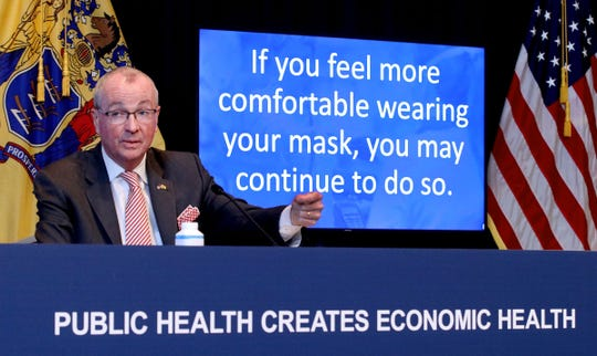 New Jersey Governor Phil Murphy updates the mask mandate during his COVID-19 briefing Monday, May 24, 2021, at the War Memorial in Trenton
