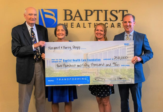 Margaret and Harry Stopp donate $250,000 to Baptist Health Care Foundation.