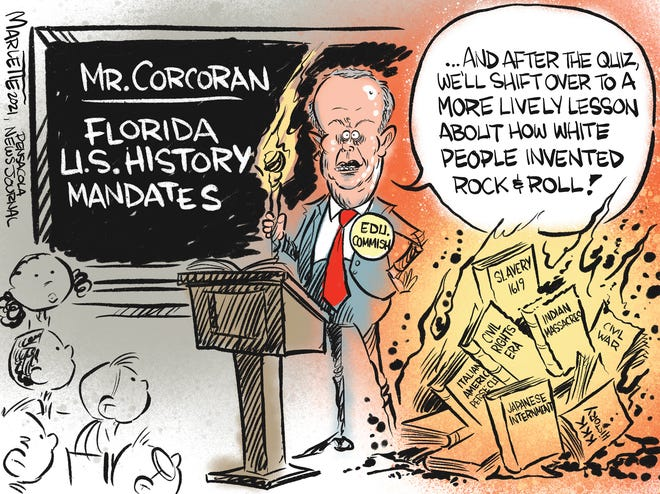 Marlette cartoon: Politicians putting new dictates on how U.S. History is taught in Florida schools.