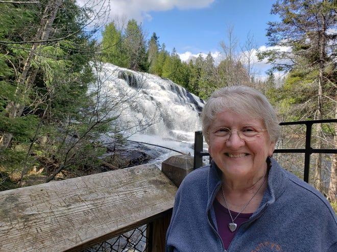 Susan on the Ontonagon River at Bond Falls, Michigan.