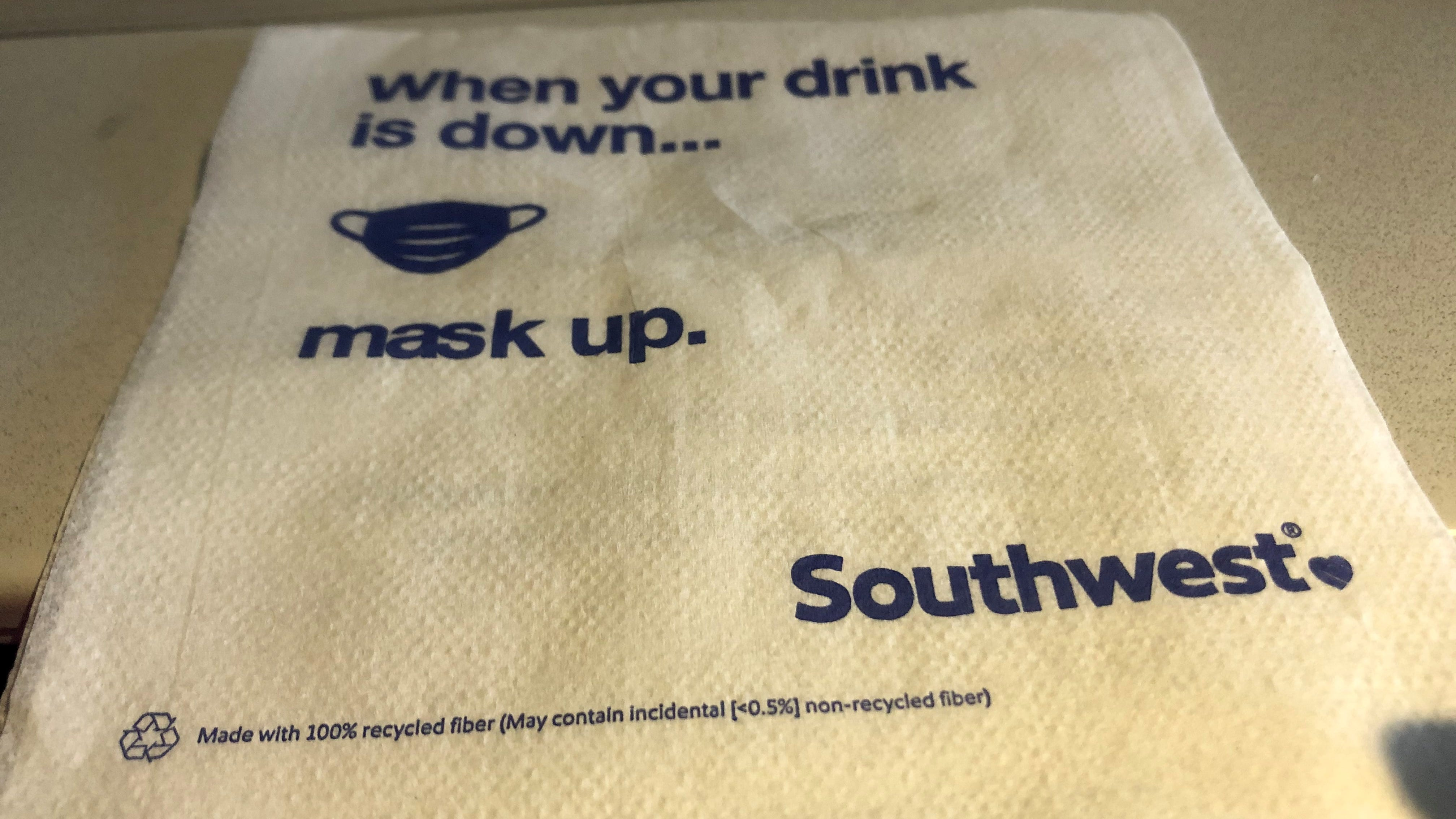 Southwest Airlines and other airlines repeatedly remind passengers to keep their masks on during the flight except when briefly eating or drinking.