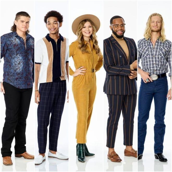 """The Voice"" final five, from left: Kenzie Wheeler, 23; Cam Anthony, 19; Rachel Mac, 16; Victor Solomon, 22; and Jordan Matthew Young, 35."