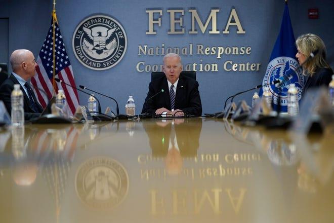 President Joe Biden participates in a briefing on the upcoming Atlantic hurricane season, at FEMA headquarters, Monday, May 24, 2021, in Washington.