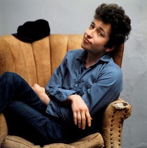 Early 1960's photo of musician Bob Dylan.