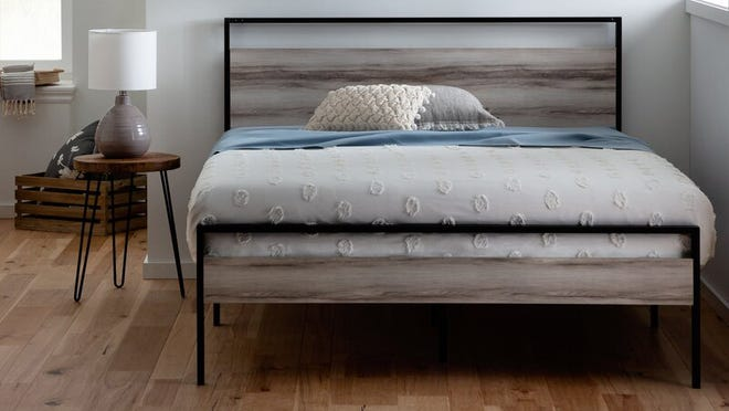 Customers praised this Industrial Lodge Home platform bed for being stylish and easy to assemble.