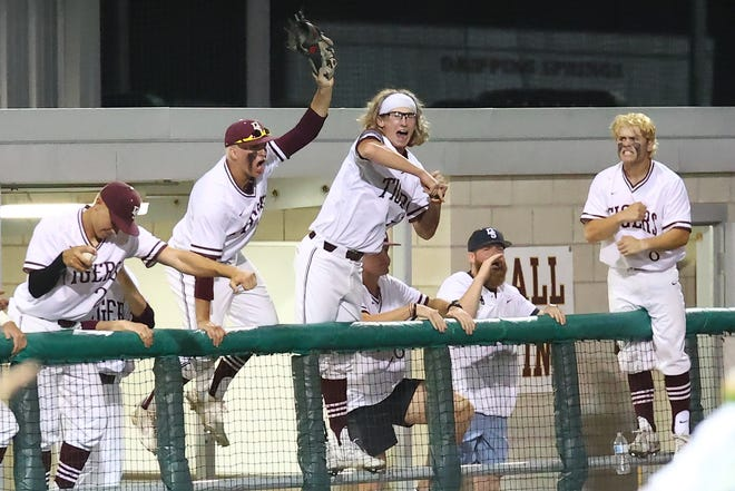 The Dripping Springs bench celebrates a strikeout in the seventh inning against Georgetown during a playoff game earlier this month. The Tigers moved into the Class 5A Region IV semifinals after sweeping Alamo Heights last week and will face Corpus Christi Veterans Memorial this week in San Antonio.