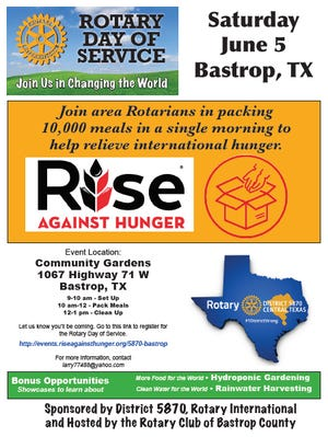 The Bastrop County Rotary Club will host a region-wide event on June 5 to help fight world hunger. The event will take place from 9 a.m. to 1 p.m. on June 5 at the Community Gardens in Bastrop at 1067 Texas 71 W.