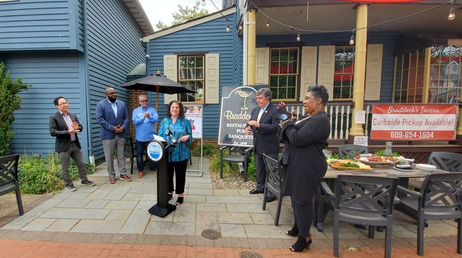 State Senator Dawn Marie Addiego speaks during the announcement of this year's Burlington County Restaurant Week.
