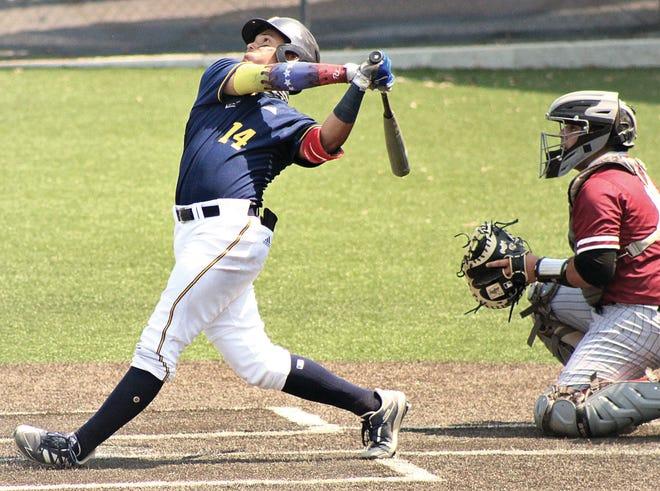 Jesus Rojas delivers a big blow during regular season action for Oklahoma Wesleyan University.