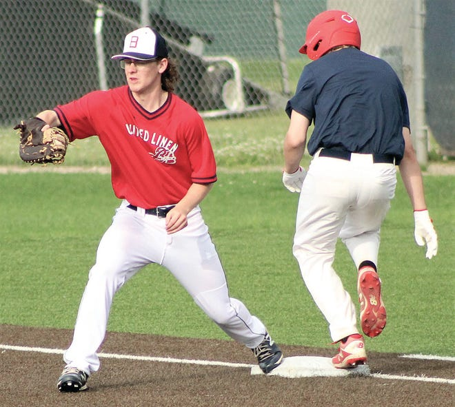 Bartlesville American Legion veteran Mason Moody, left, secures the ball just in time to retire a Nowata baserunner during 17-U action Monday on Rigdon Field and Doenges Stadium. Moody and his United Linen Braves' teammates swept the doubleheader.