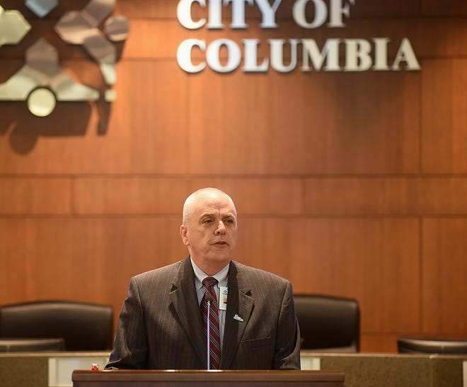 Columbia City Manager John Glascock gives the annual State of the City address on Tuesday.