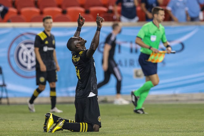 Crew defender Jonathan Mensah reacts after a win against New York City FC on Saturday. The Crew is 13-1-5 since the start of the 2020 season when it has at least six days between games.