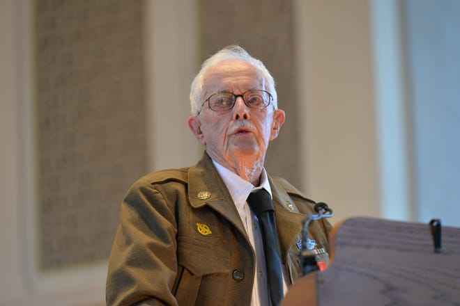 Andrew Sterrett speaks during a 2016 awards ceremony in which he was honored with France's highest honor, the Legion d' Honneur (Legion of Honor), for his valor and sacrifice in France during World War II.