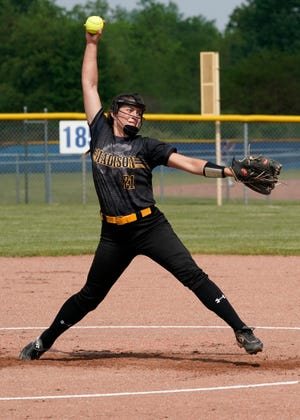 Madison's Calie Sower delivers a pitch during a game Monday against Jonesville.