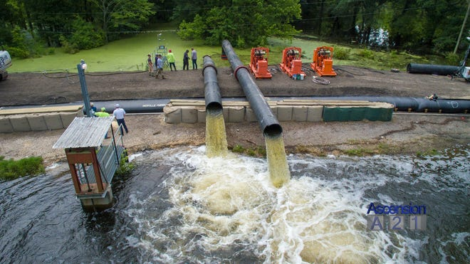 The Parish is currently operating three pumps on Alligator Bayou Road.