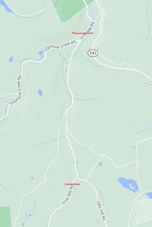 The portion of roadway between the red brackets is closed due to a bridge repair.