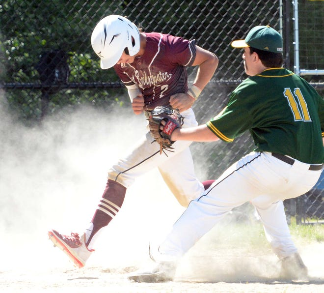 West Bridgewater runner Joey LeClerc crossed the plate on a wild pitch from South Shore Tech's Jack Lewis, who is just late with the tag, during a game on Tuesday, May 25, 2021.